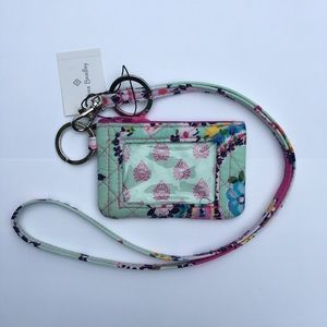 vera bradley lanyard and quilted id case set new